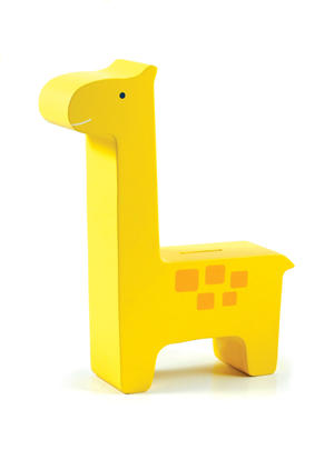 Wooden Giraffe Bank - Yellow 6p