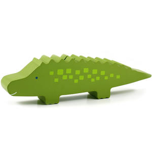 Wooden Alligator Bank - Green 6p