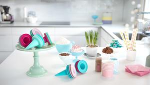 Cillicone Ice cream cone Aqua 4p