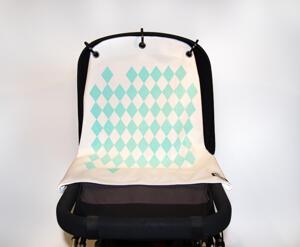 Baby Peace Barnvagnsgardin Harlekin Vit/Blå 1p