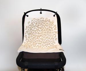 Baby Peace Barnvagnsdraperi Leopard Vit/Grå 1p