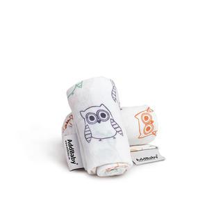 Snuttefilt AddBaby® Vit med Ugglor4p